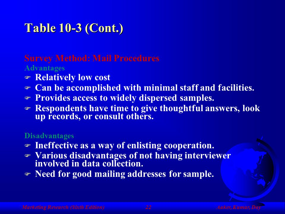 Table 10-3 (Cont.) Survey Method: Mail Procedures Relatively low cost