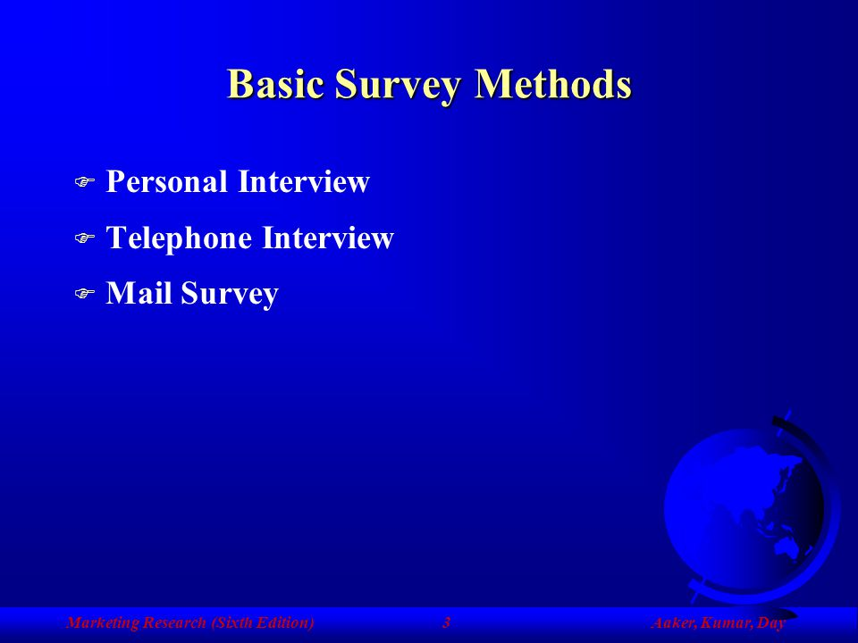 Basic Survey Methods Personal Interview Telephone Interview