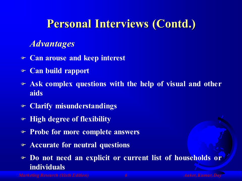 Personal Interviews (Contd.)