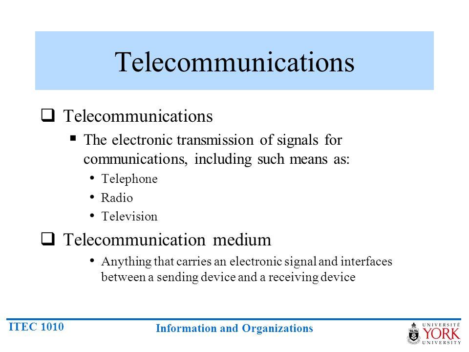 Telecommunications Telecommunications Telecommunication medium