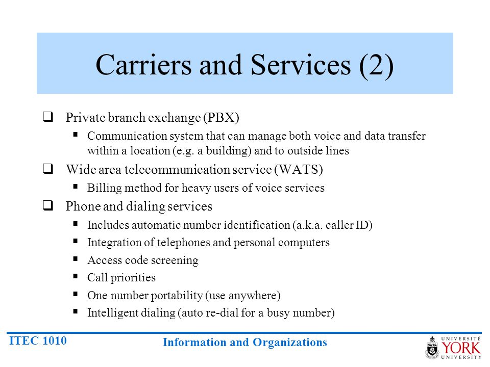 Carriers and Services (2)