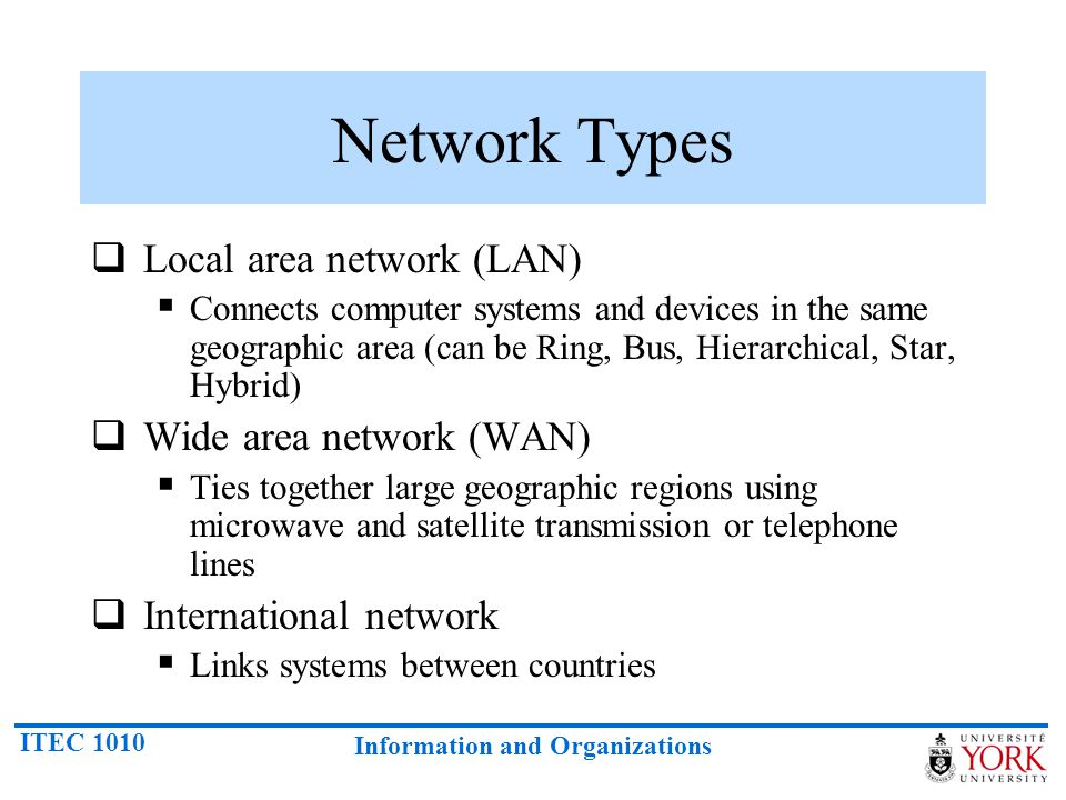 Network Types Local area network (LAN) Wide area network (WAN)