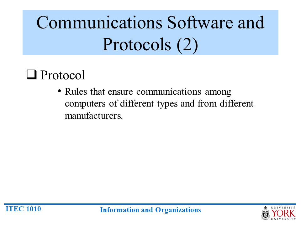 Communications Software and Protocols (2)