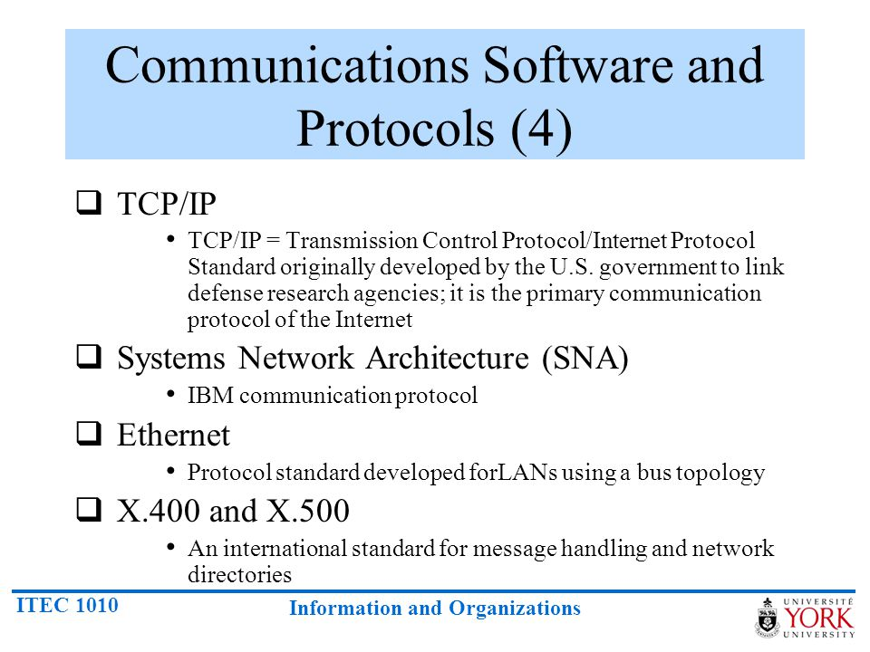 Communications Software and Protocols (4)