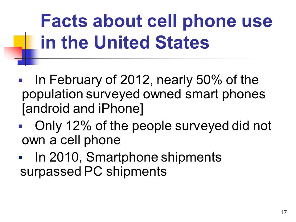 Facts about cell phone use in the United States