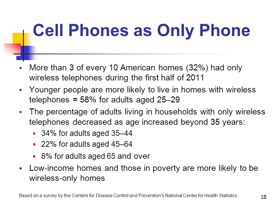 Cell Phones as Only Phone