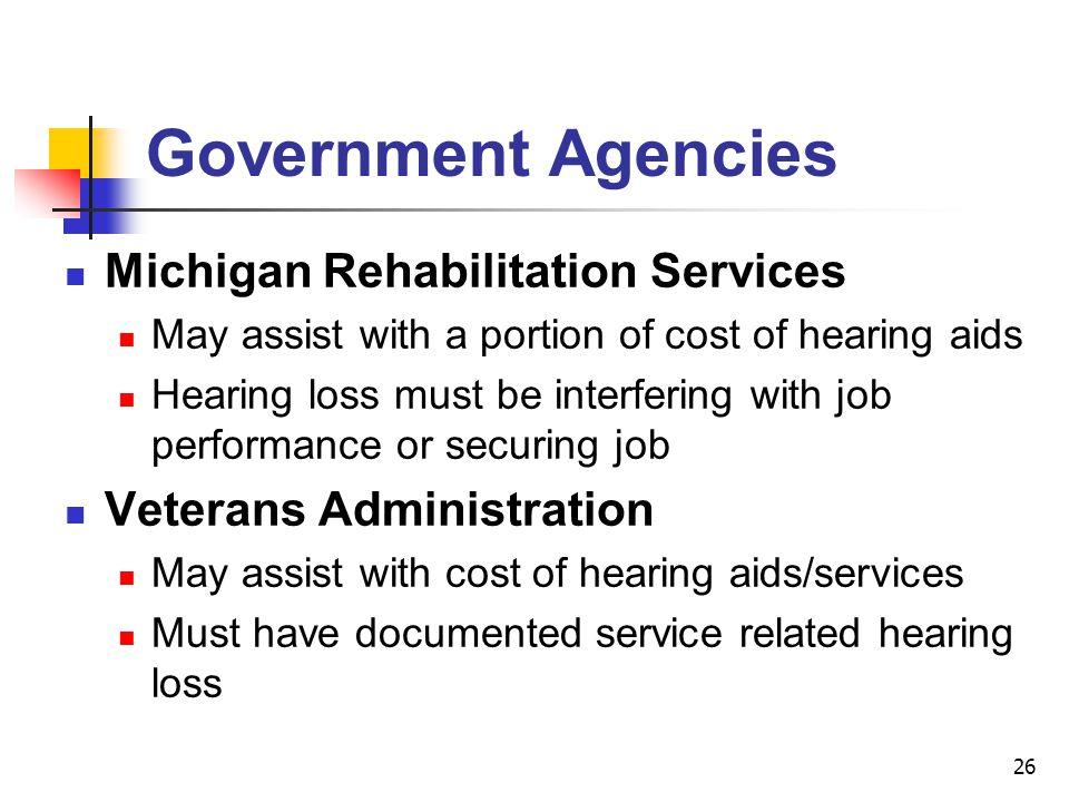 Government Agencies Michigan Rehabilitation Services