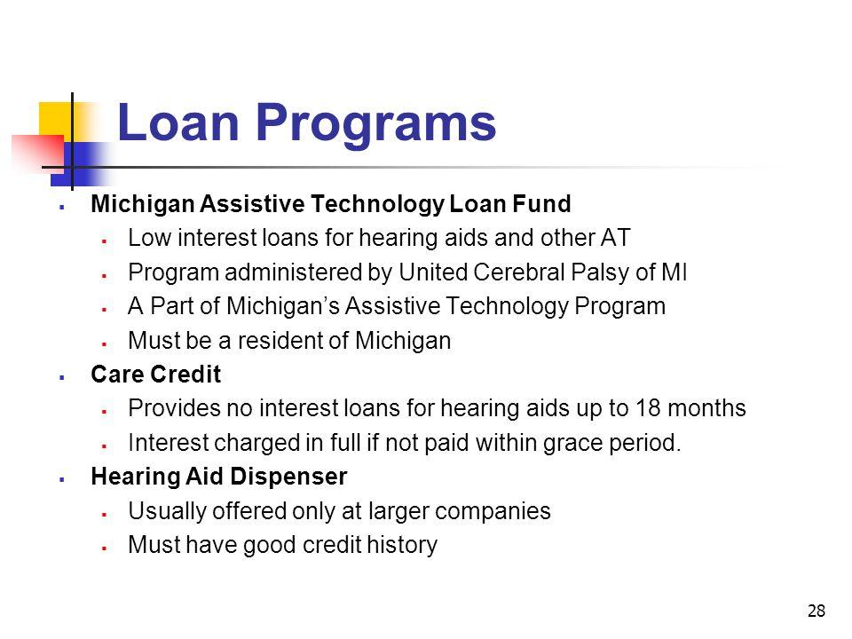 Loan Programs Michigan Assistive Technology Loan Fund
