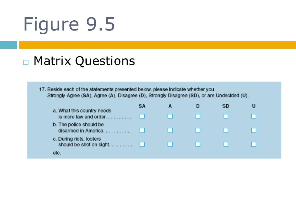 Figure 9.5 Matrix Questions
