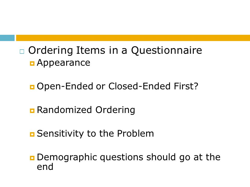 Ordering Items in a Questionnaire