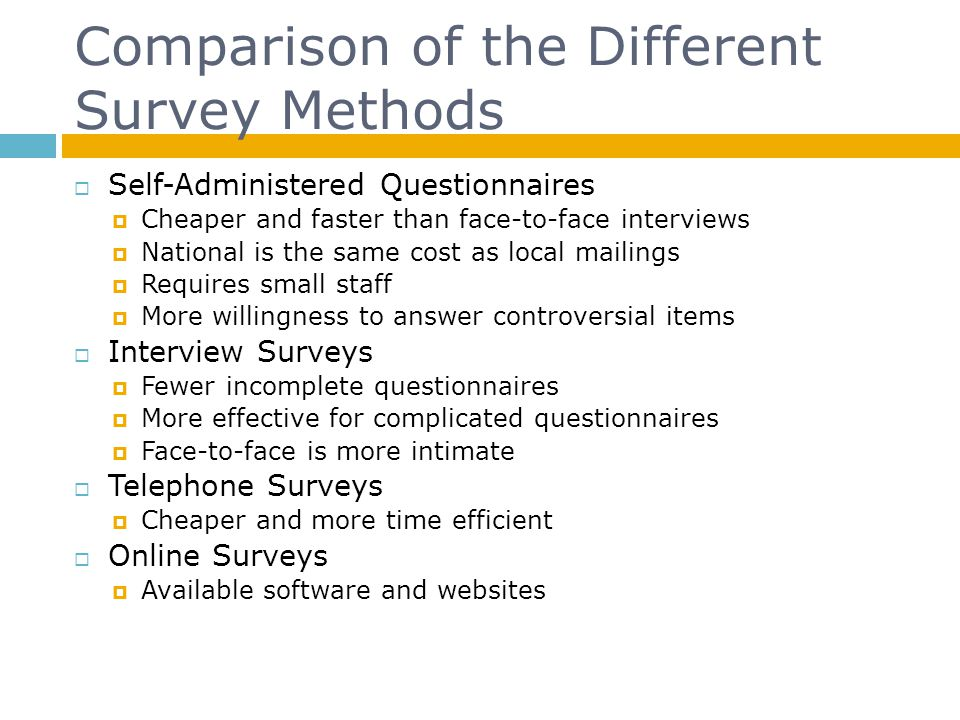 Comparison of the Different Survey Methods