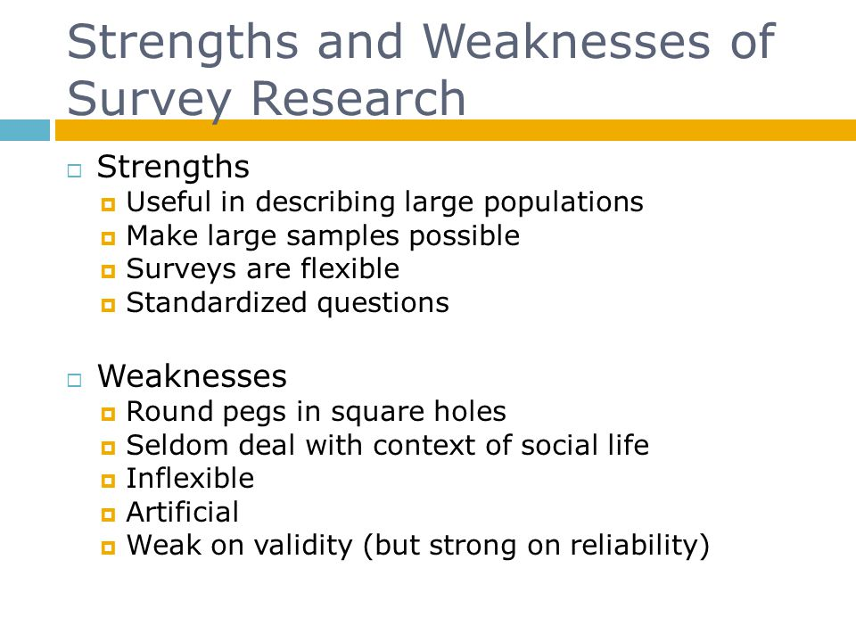 Strengths and Weaknesses of Survey Research