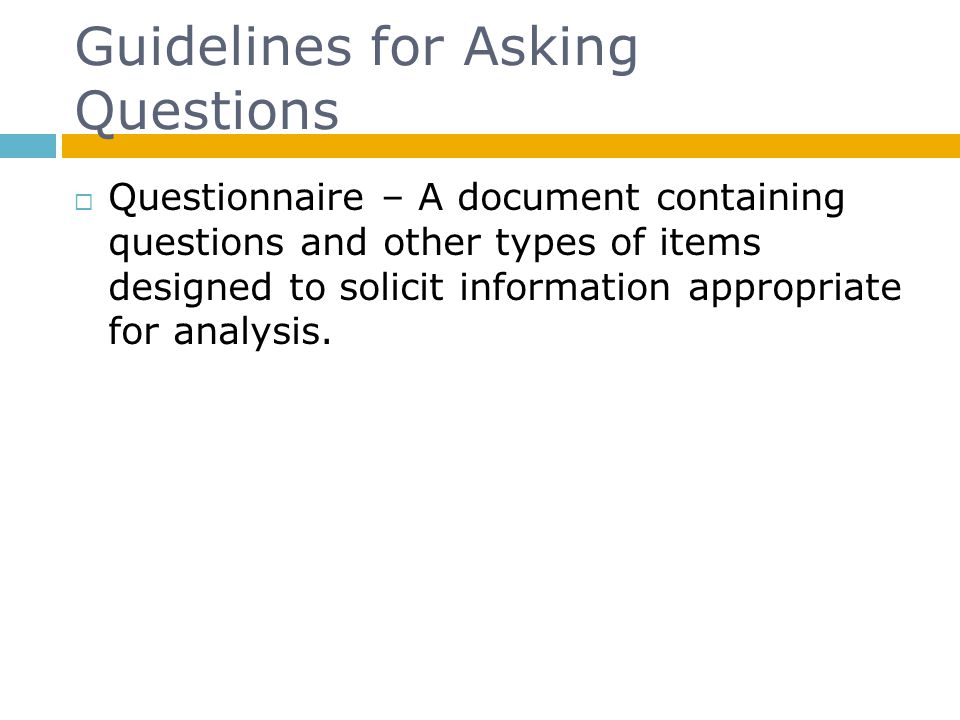 Guidelines for Asking Questions