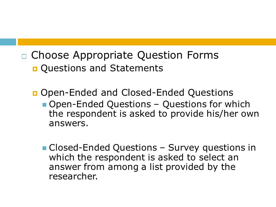 Choose Appropriate Question Forms