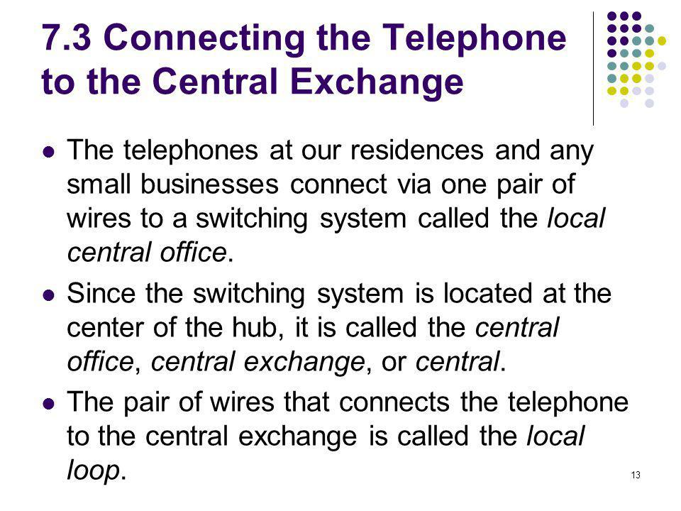 7.3 Connecting the Telephone to the Central Exchange