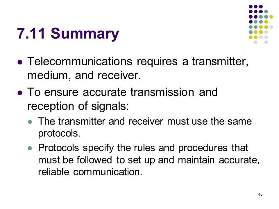 7.11 Summary Telecommunications requires a transmitter, medium, and receiver. To ensure accurate transmission and reception of signals: