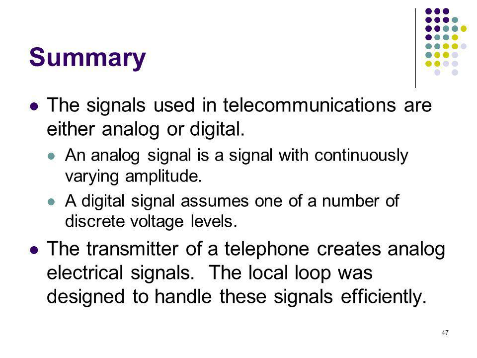 Summary The signals used in telecommunications are either analog or digital. An analog signal is a signal with continuously varying amplitude.