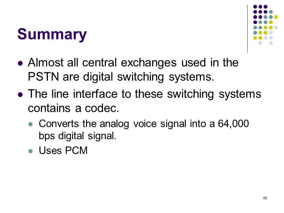 Summary Almost all central exchanges used in the PSTN are digital switching systems. The line interface to these switching systems contains a codec.