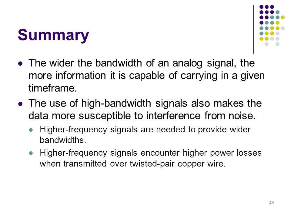 Summary The wider the bandwidth of an analog signal, the more information it is capable of carrying in a given timeframe.