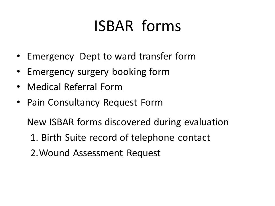 ISBAR forms Emergency Dept to ward transfer form