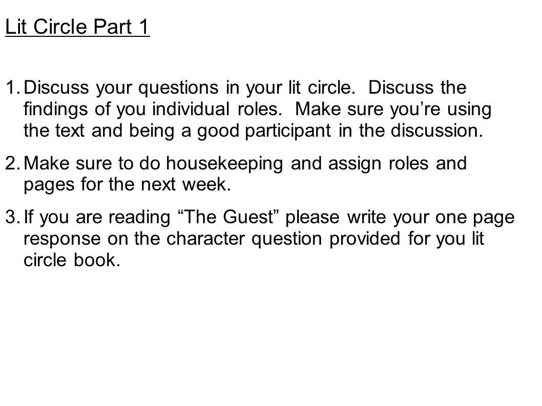 Lit Circle Part 1