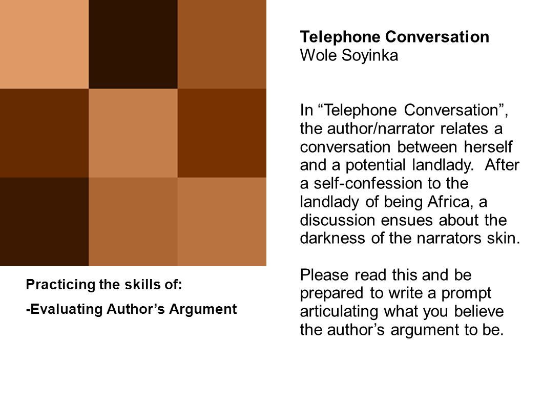 from literature to life ppt 51 telephone conversation wole soyinka
