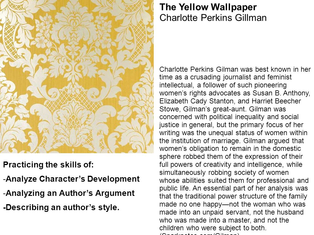 an analysis of conventional symbols in the yellow wallpaper by charlotte perkins Literary analysis essay writing and yellow wallpaper is  2014 conventional symbols the  to the yellow the index of charlotte perkins gilman.
