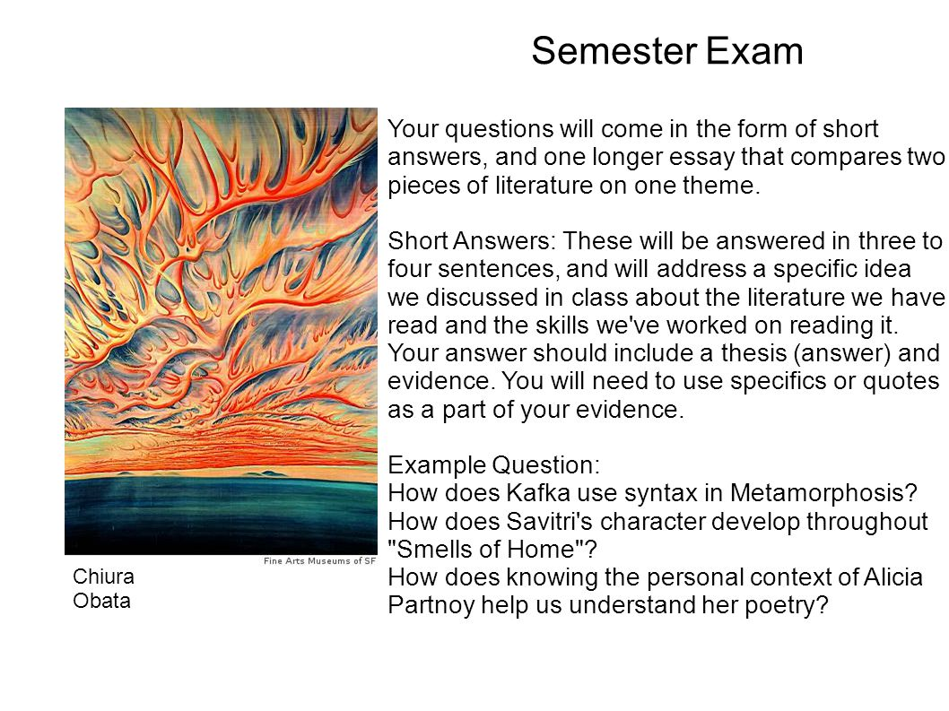 Semester Exam Your questions will come in the form of short answers, and one longer essay that compares two pieces of literature on one theme.