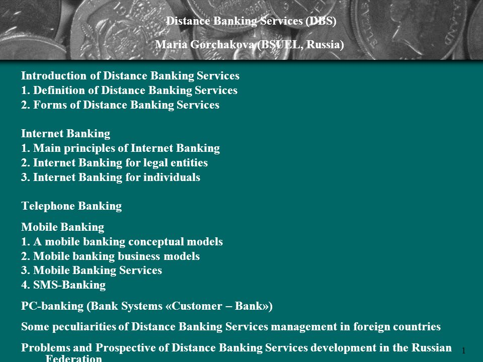 Distance Banking Services (DBS)
