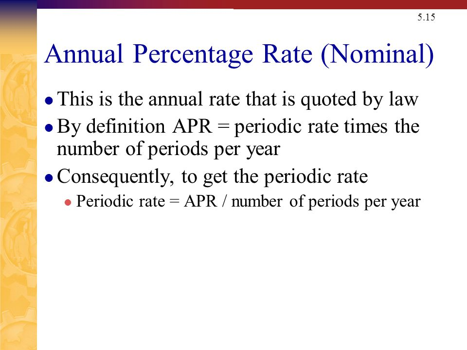 APR Annual Percentage Rate=Nominal Rate