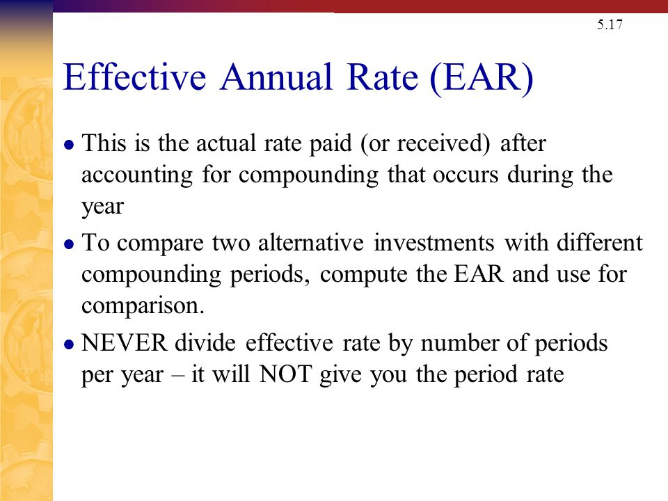 Nominal (APR) v. Effective (EAR or EFF) Interest Rates