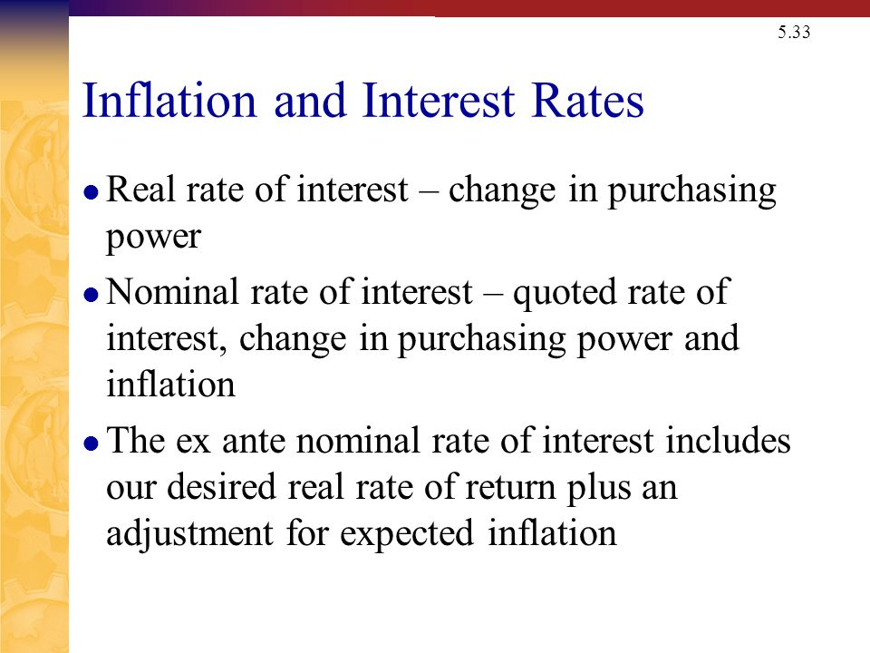 The Fisher Effect The Fisher Effect defines the relationship between real rates, nominal rates and inflation.
