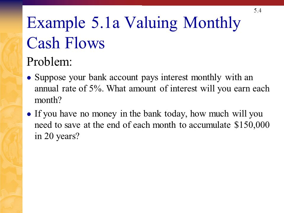 Example 5.1a Valuing Monthly Cash Flows