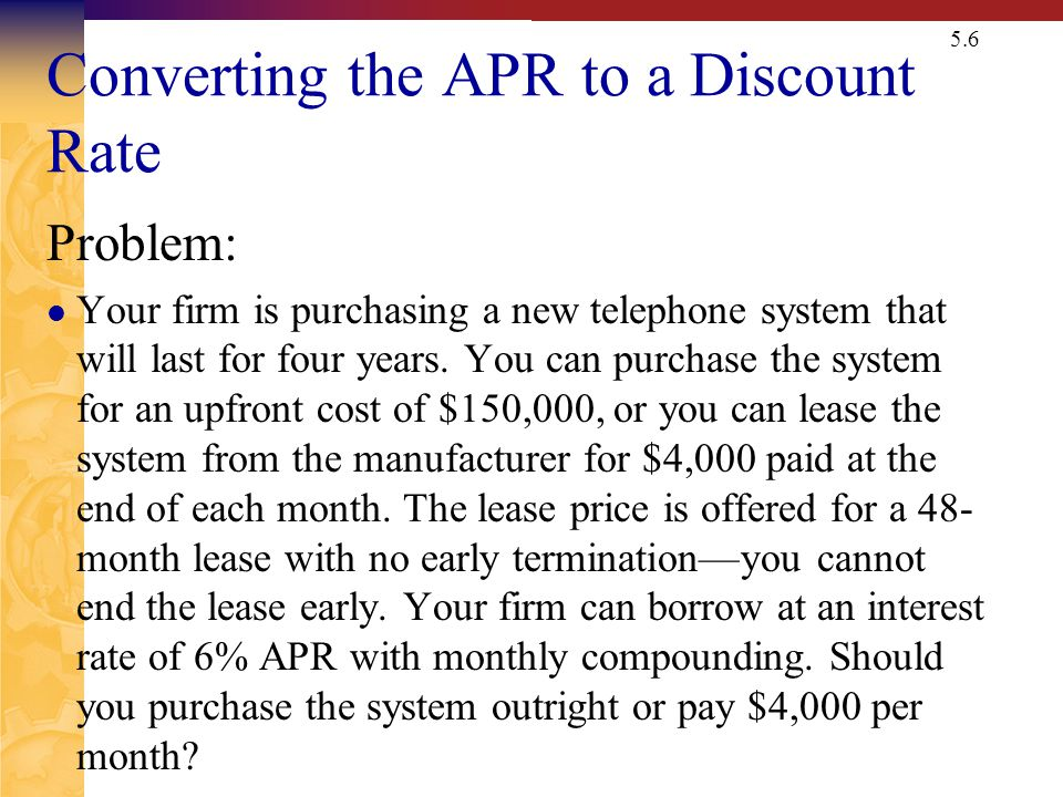 Converting the APR to a Discount Rate