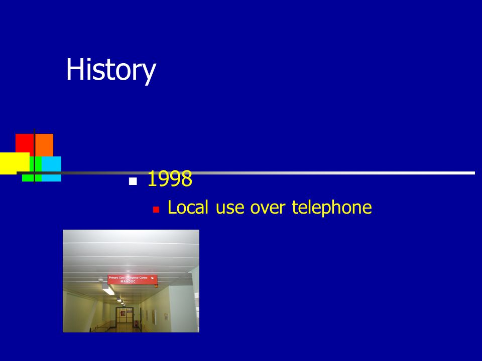 History 1998 Local use over telephone