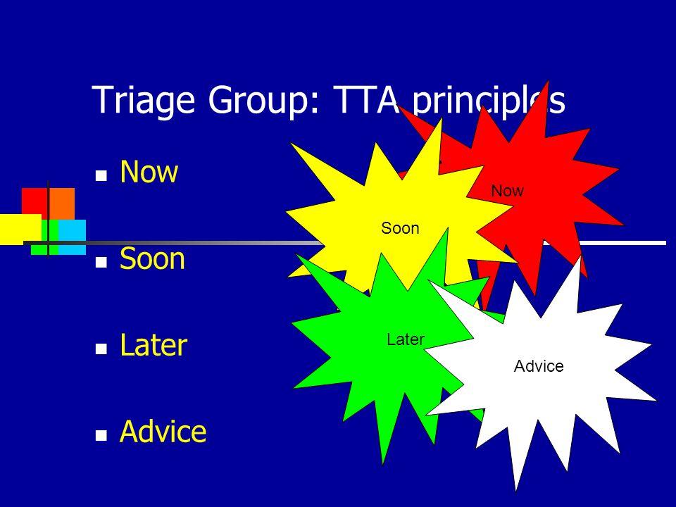 Triage Group: TTA principles