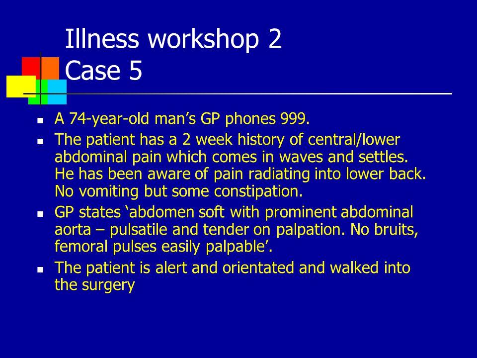 Illness workshop 2 Case 5 A 74-year-old man's GP phones 999.