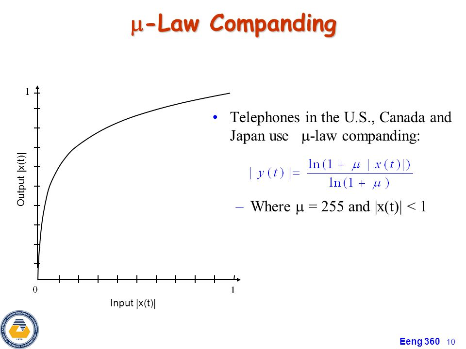 -Law Companding Telephones in the U.S., Canada and Japan use -law companding: Where  = 255 and |x(t)| < 1.