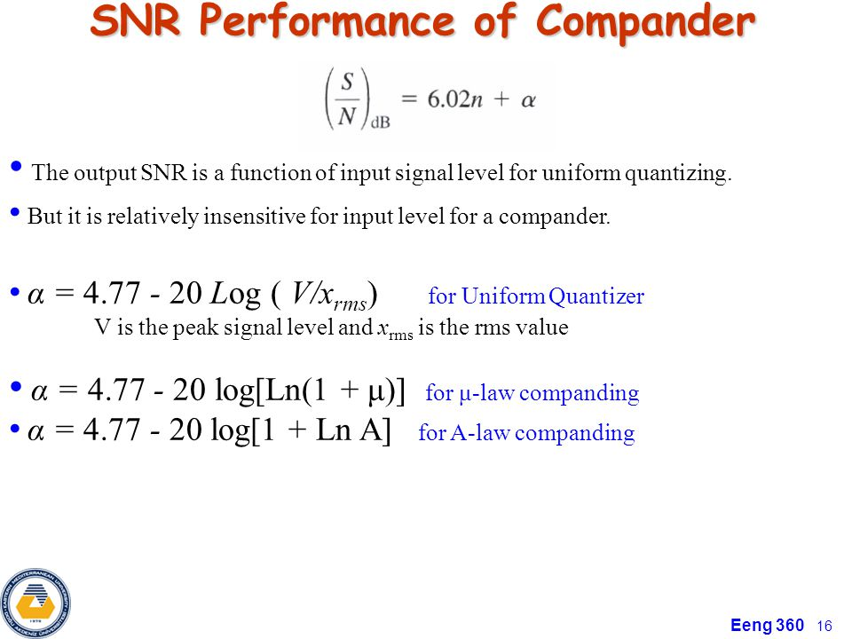 SNR Performance of Compander