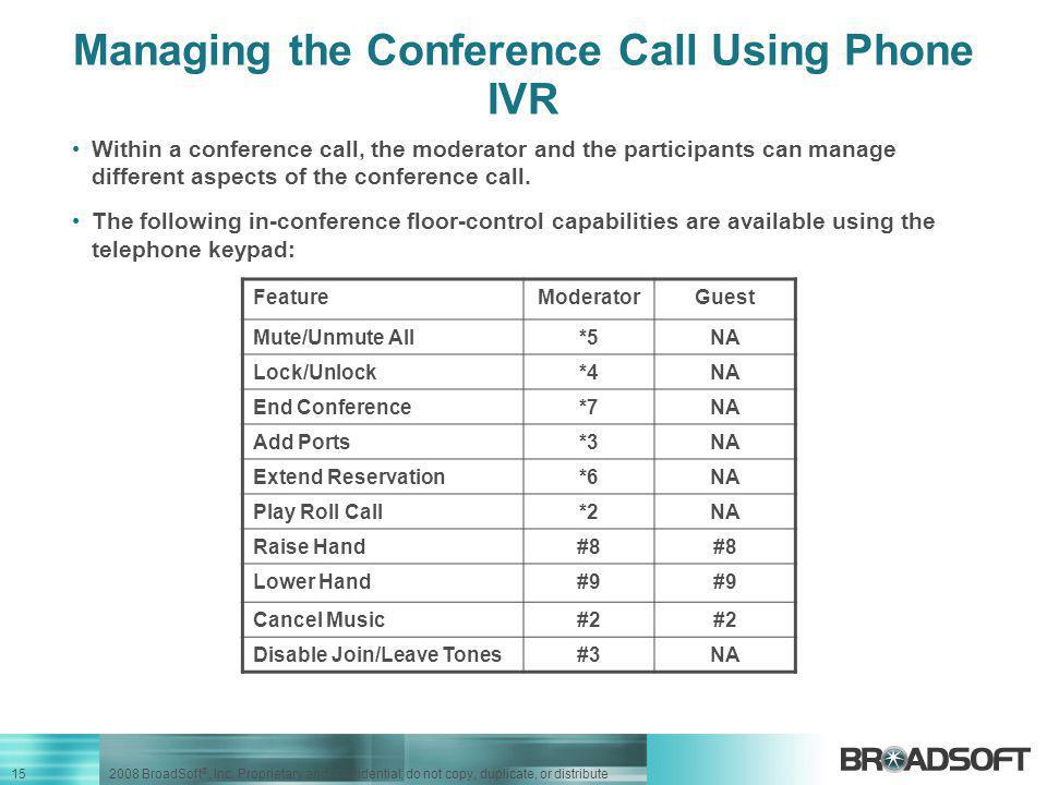 Managing the Conference Call Using Phone IVR