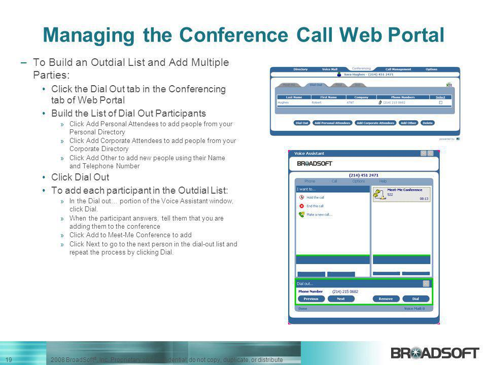 Managing the Conference Call Web Portal