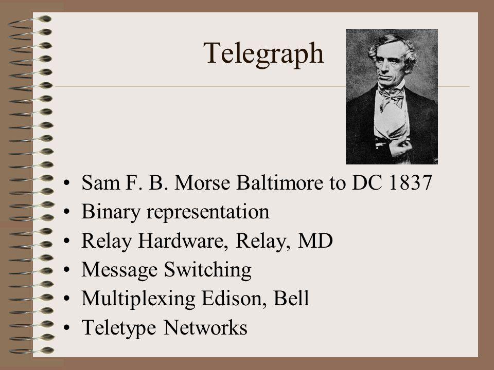 Telegraph Sam F. B. Morse Baltimore to DC 1837 Binary representation