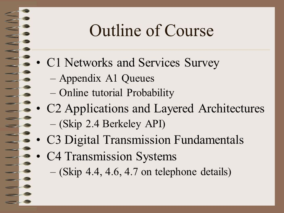Outline of Course C1 Networks and Services Survey