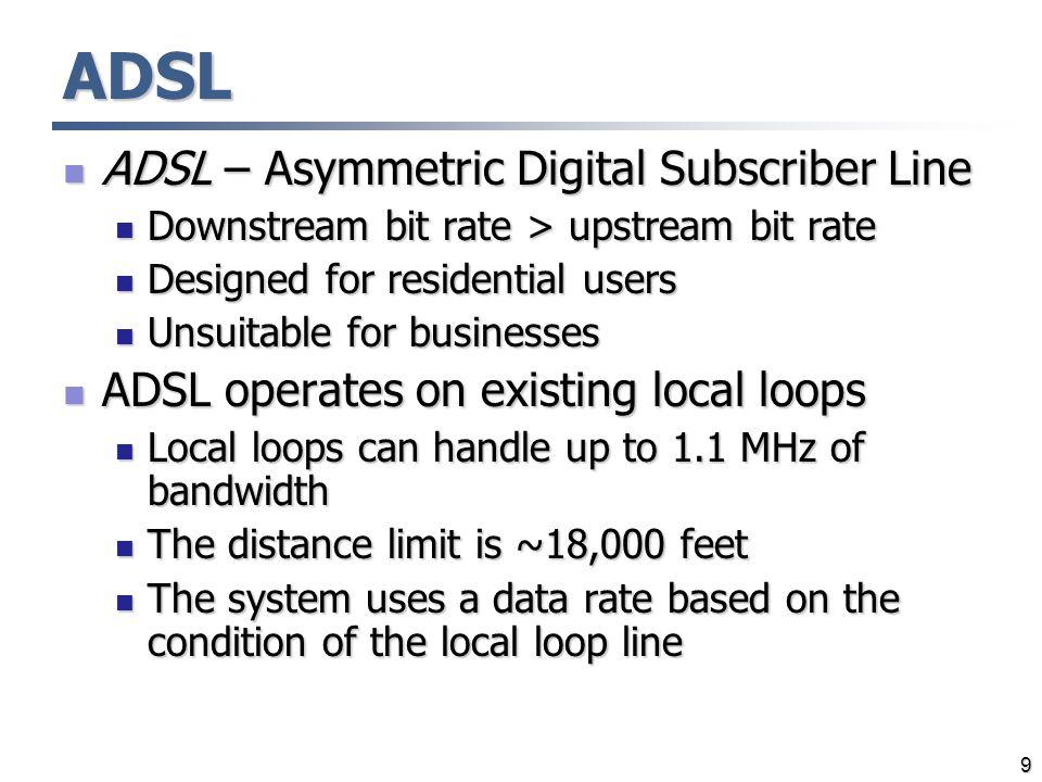 ADSL ADSL – Asymmetric Digital Subscriber Line