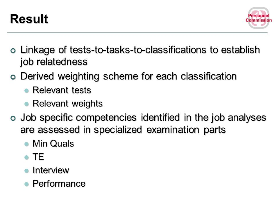 Result Linkage of tests-to-tasks-to-classifications to establish job relatedness. Derived weighting scheme for each classification.