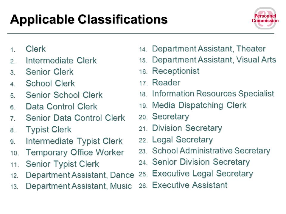 Applicable Classifications