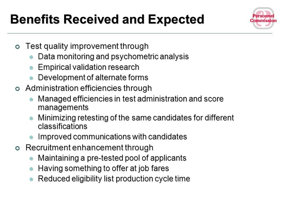 Benefits Received and Expected