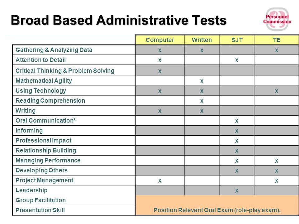 Broad Based Administrative Tests