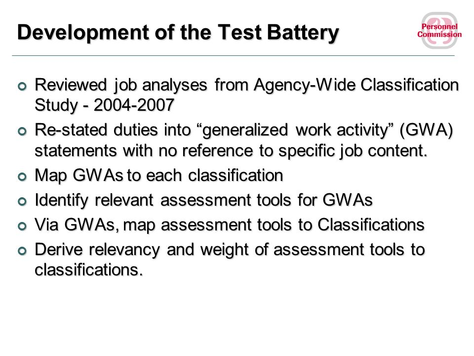 Development of the Test Battery