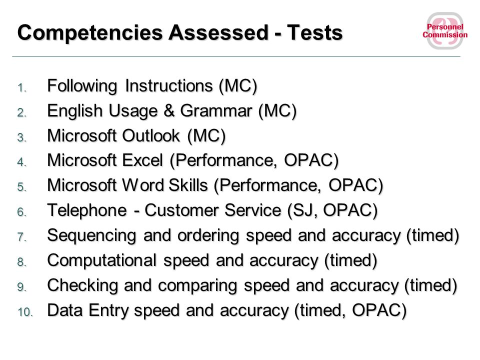 Competencies Assessed - Tests